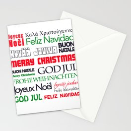 merry christmas in different languages II Stationery Cards