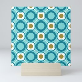 Mid Century Modern Retro Pattern of Geometric Shapes Teal Blue and Gold Circles Mini Art Print