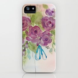 Lavender Roses with blue ribbon iPhone Case