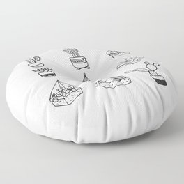 Minimalist Cacti Collection Black and White Floor Pillow