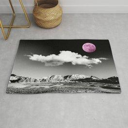 Black Desert Sky & Fuchsia Moon // Red Rock Canyon Las Vegas Mojave Lune Celestial Mountain Range Rug