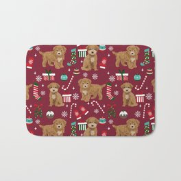 Bichpoo christmas dog breed holidays pet gifts pet friendly stockings candy canes snowflakes Bath Mat