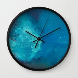 WaterColor Turqouise Blue Print Wall Clock