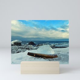 Spring Comes to the Beach in Ice that glows Blue Mini Art Print