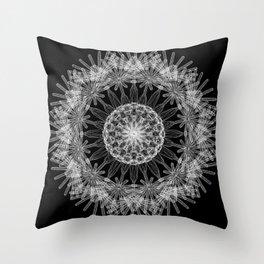 GEOMETRIC NATURE: DANDELION b/w Throw Pillow