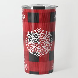 Happy Winter Snowflakes Merry Christmas/ Xmas With Buffalo Check Travel Mug