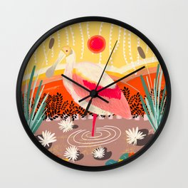 Roseate Spoonbill in the Sunset Wall Clock