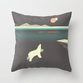Polar bear nigh swimming Throw Pillow