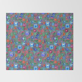 Little Owls and Flowers on Grey Throw Blanket