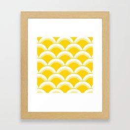 Japanese Fan Pattern Yellow Framed Art Print
