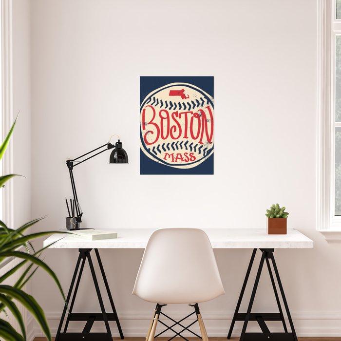 Hand Drawn Baseball for Boston with custom Lettering Poster