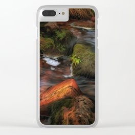 Colours of Autumn in a Brecon stream Clear iPhone Case