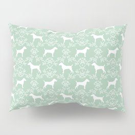 Jack Russell Terrier floral silhouette dog breed pet pattern silhouettes dog gifts mint Pillow Sham