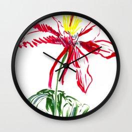 Red Columbine Flower in watercolor Wall Clock