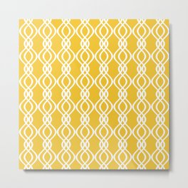 Yellow and white curved lines Metal Print