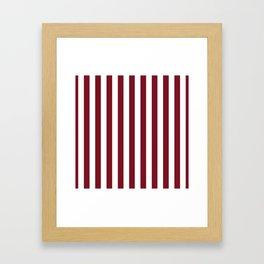 Deep Dark Red Pear and White Beach Hut Stripe Framed Art Print