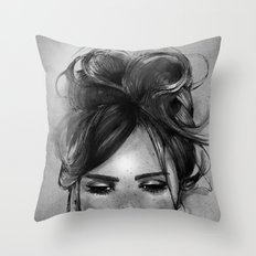 Sweet freckles girl face Throw Pillow