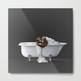 Orangutans in Bath Metal Print