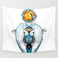 skyfall Wall Tapestries featuring Cosmic Smoking Skyfall Dragon by Pr0l0gue