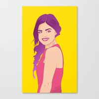 pretty little liars Canvas Prints featuring Pretty little liars - Lucy Hale by Lais Design