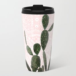 Cactus on Pink and Persian Mosaic Wall Travel Mug