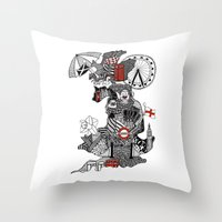 england Throw Pillows featuring England Doodle by Rebecca Bear