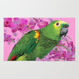 PINK TROPICAL GREEN PARROT & FUCHSIA ORCHIDS  ART Rug