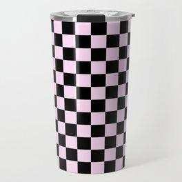 Black and Pink Lace Pink Checkerboard Travel Mug