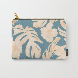 Island Vacay Hibiscus Palm Leaf Coral Teal Blue Carry-All Pouch