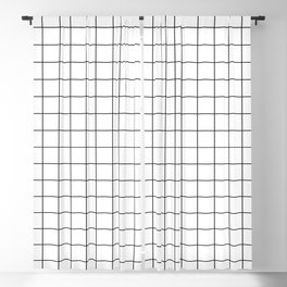 Grid Stripe Lines Black and White Minimalist Geometric Blackout Curtain