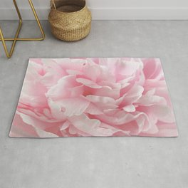 Enchanting - Abstract Pastel Pink Peony Flower Photo Rug