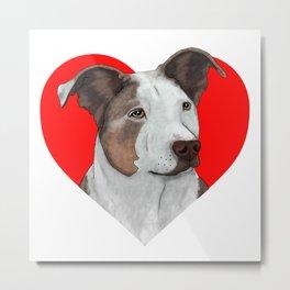 Pit Bull Heart Metal Print