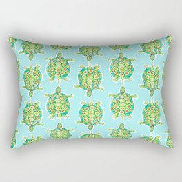 Tortoise Pattern with aqua background Rectangular Pillow