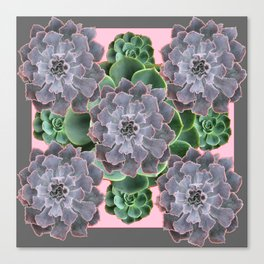 ORNATE JADE & GREEN SUCCULENT PINK   GARDEN Canvas Print