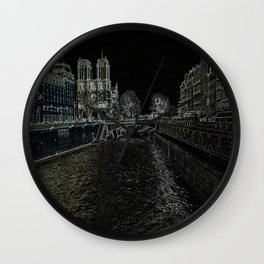 Notre Dame in Background Wall Clock
