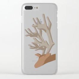 Deer bending with Antlers in brown Clear iPhone Case