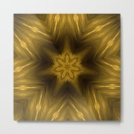 Golden Amber Metalic Abstract Star #Kaleidoscope Metal Print