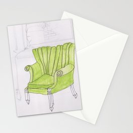 green chair Stationery Cards