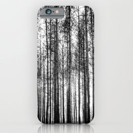 trees in forest landscape - black and white nature photography iPhone Case