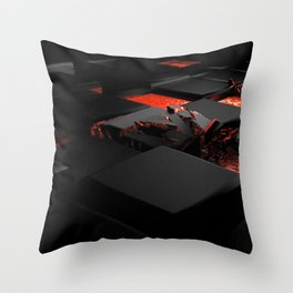 Black Sqaures In Lava 3D Ultra HD Throw Pillow