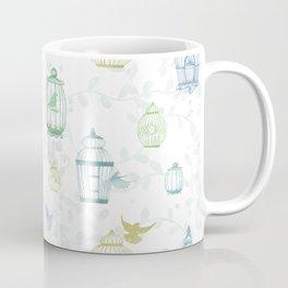 Whimsical Watercolor Birdcage Pattern Coffee Mug