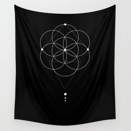Seed Of Life Geometry Black Wall Tapestry