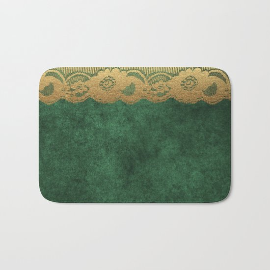 Green Lace Velvet 02 Bath Mat