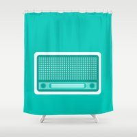 radio Shower Curtains featuring radio by brittcorry