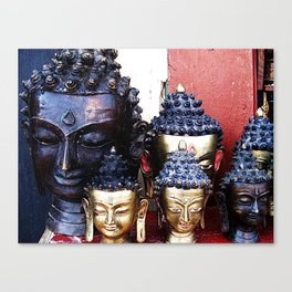 Buddha Heads Travel Photography from Nepal Canvas Print