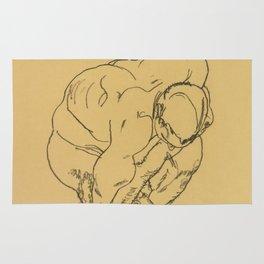 "Egon Schiele ""Crouching male nude"" Rug"