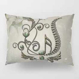 Music, key note with floral elements Pillow Sham