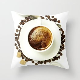 Top view of a cup of coffee, isolate on white Throw Pillow