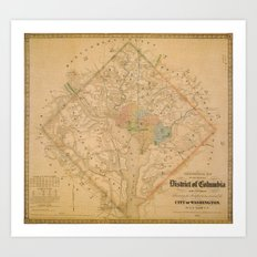 Civil War Washington D.C. Map Art Print