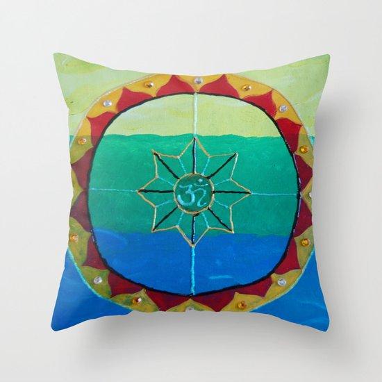 Chakra Mandala - Solar Plexus, Heart Charka & Throat Chakra  Throw Pillow